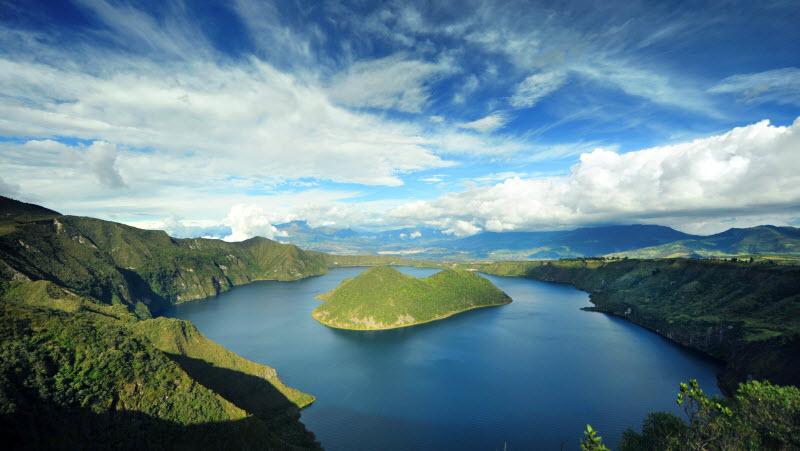 Ecuador - Cuicocha volcano lake top view